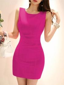 Fashion Korea 3 Colors Back Zipper Skinny Sleeveless Dress