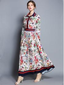 Retro Charming Shirt Collar Flowers Pleated Maxi Dress