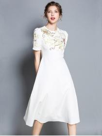 Charming Europe Flowers Embroidery High Waist A-line Dress