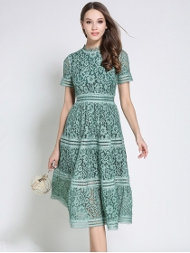 Europe 2 Colors High Waist Hollow Out Lace Dress
