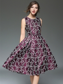 Europe Fashion High Waist Jacquard Flowers A-line Dress