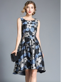 Europe Stylish High Waist Jacquard Flowers Tank A-line Dress