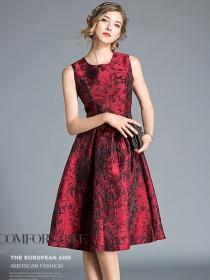 Quality Fashion High Waist Jacquard Flowers Tank A-line Dress