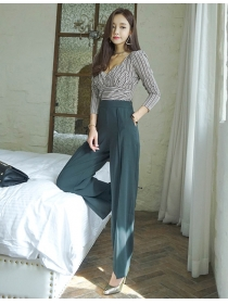 Fashion Low Bust Stripes Blouse with Wide-leg Long Pants