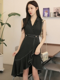 Quality Fashion 2 Colors Tailored Collar Stripes Fishtail Dress