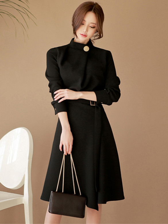 Fashion Autumn Stand Collar Fitted Waist Flouncing Dress