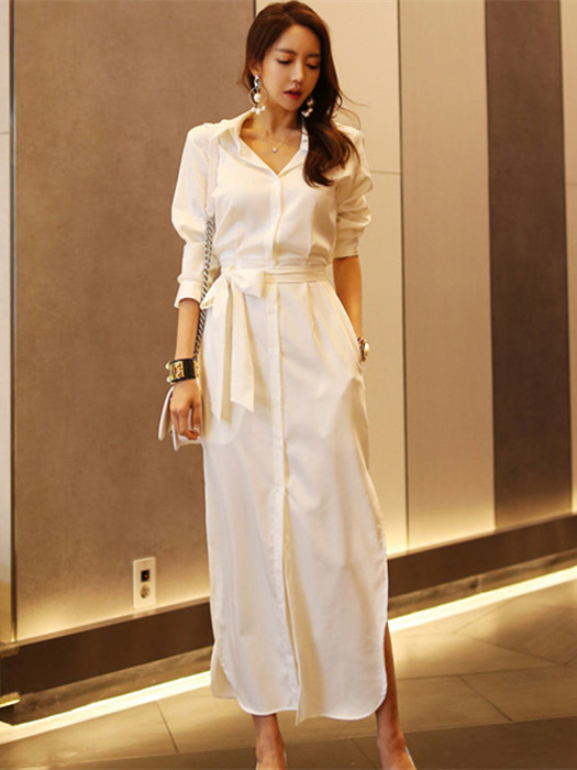 Grace Fashion Tie Waist Shirt Collar Puff Sleeve Long Dress