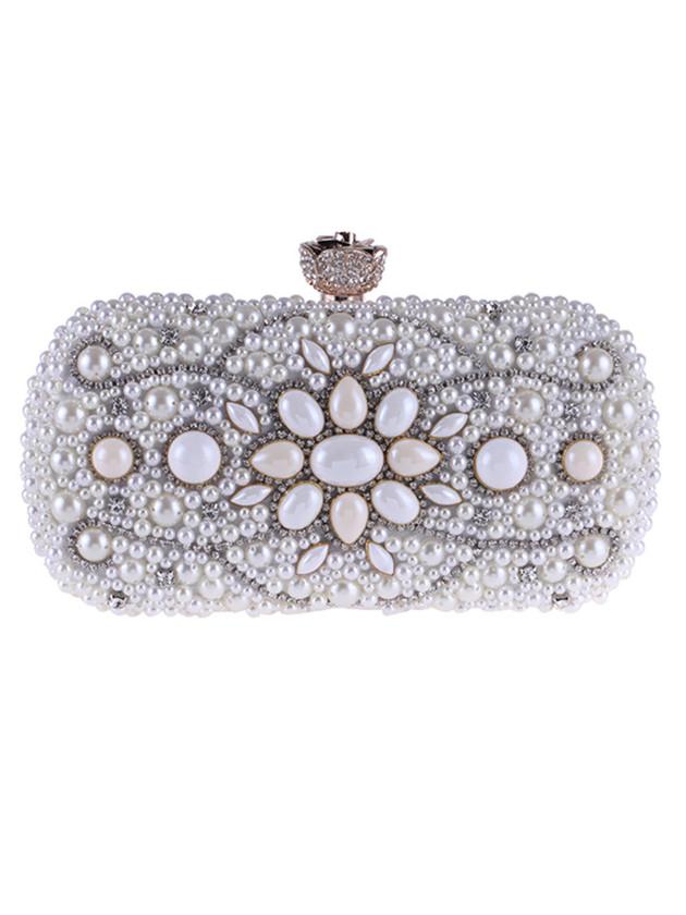 Quality Fashion 2 Colors Beads Rhinestones Small Clutch Bag