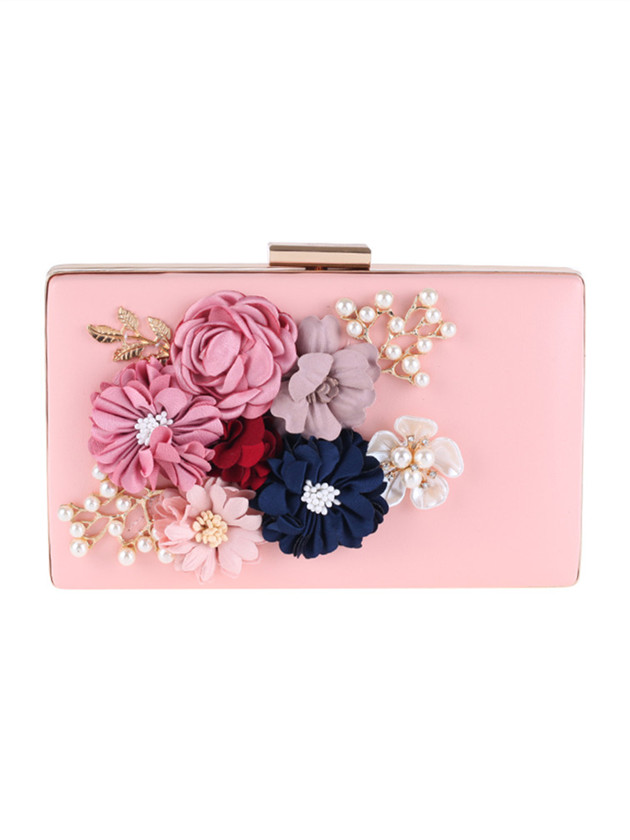 Stylish New 2 Colors Beads Stereo Flowers Clutch Bag