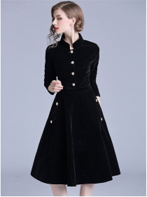 Fashion Autumn Single-breasted Velvet Long Sleeve A-line Dress