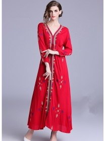 National Fashion Tie Waist Embroidery Vocation Long Dress