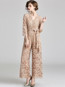 Brand Fashion V-neck Tie Waist Wide-leg Lace Long Jumpsuit