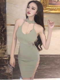 Sexy Women 3 Colors Backless Chains Halter Dress