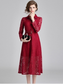 Grace Europe Fashion Shirt Collar Lace Long Sleeve Dress