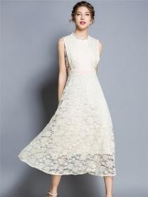 Europe Fashion High Waist Hollow Out Lace Long Dress