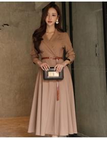 Quality Fashion Tailored Collar High Waist Long Coat Dress