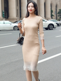 Autumn Fashion 2 Colors Round Neck Splicing Slim Knitting Dress