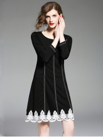 Fashion Europe Round Neck Lace Splicing Slim A-line Dress