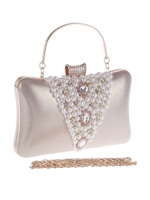 Fashion New 4 Colors Beads Pearls Rhinestones Clutch Bag