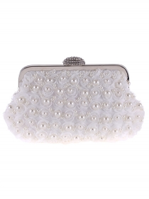 Pretty Fashion Pearls Stereo Flowers Clutch Bag