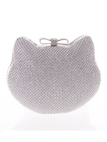 Lovley Fashion 2 Colors Rhinestones Cat Chain Bag
