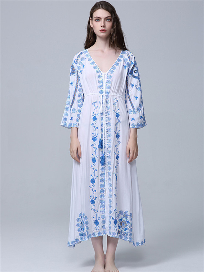Hot Selling Flare Sleeve Blue Flowers Embroidery Maxi Dress