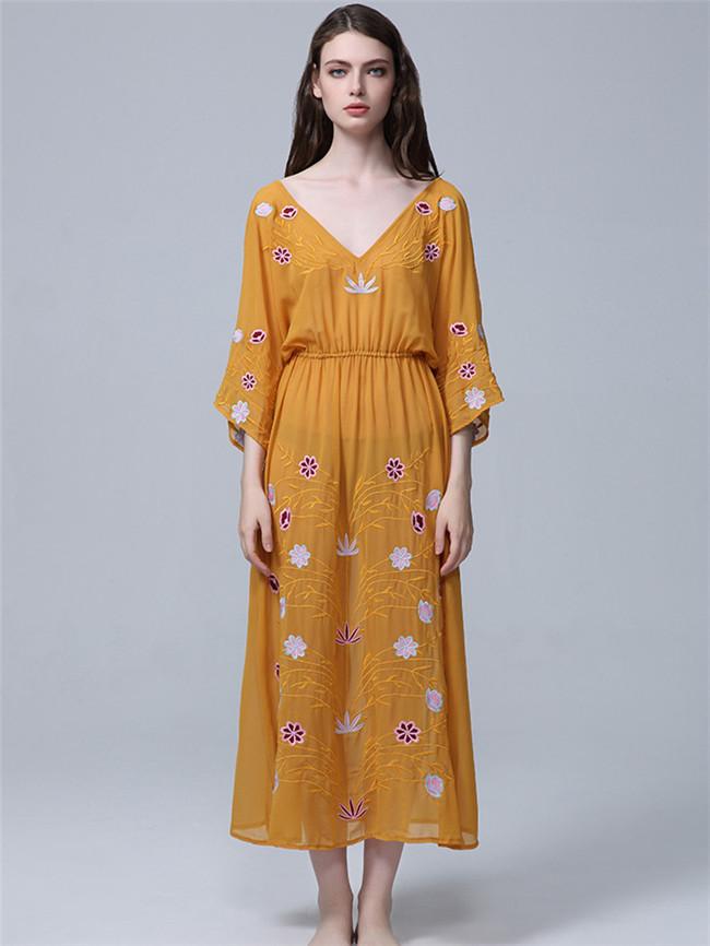 Vocation Fashion 2 Colors Elastic Waist Embroidery Long Dress
