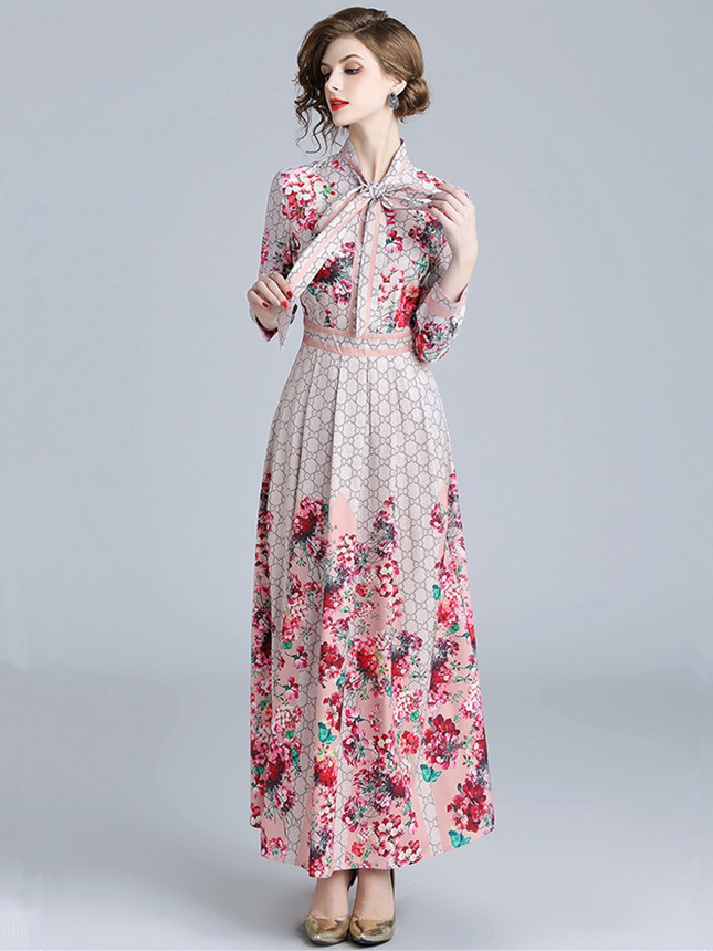 Charming Fashion Tie Collar Plaids Flowers Maxi Dress