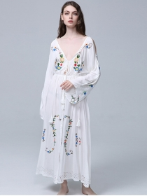 Quality Fashion Tie V-neck Flowers Embroidery Maxi Dress