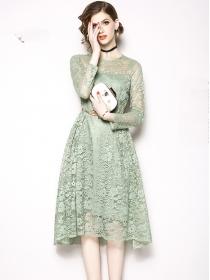 Europe Wholesale 3 Colors Round Neck Lace A-line Dress