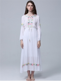 Quality Fashion Elastic Waist Flowers Embroidery Long Dress