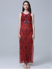 Retro Bohemia Round Neck Embroidery Split Maxi Dress