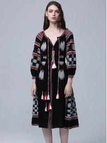 Fashion National 3 Colors V-neck Tassels Embroidery Dress