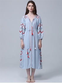 National Fashion 3 Colors Embroidery Loosen Long Dress