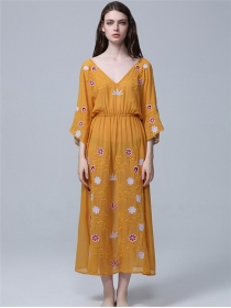 Vocation Fashion 2 Colors Elastic Waist Embroidery Long Dress