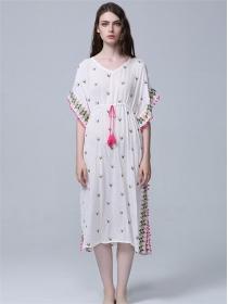 Bohemia Flowers Embroidery Tie Waist Loosen Maxi Dress
