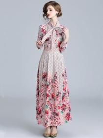 Charming Fashion Tie Collar Plaids Flowers Maxi Dress