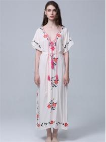 Retro Europe High Waist Embroidery Low V-neck Maxi Dress