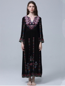 Quality Fashion Flowers Embroidery V-neck Vocation Dress