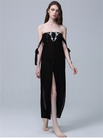 Fashion Sexy 2 Colors Boat Neck Single-breasted Split Long Dress