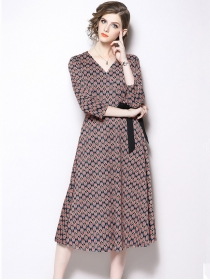 Europe Stylish Tie Waist V-neck Mini Flowers Long Dress