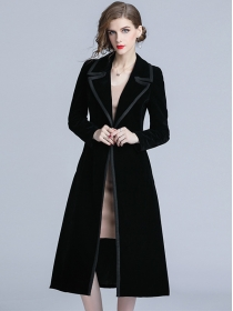 Europe Brand Fashion Tailored Collar Velvet Long Coats