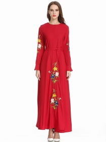 Europe Stylish 4 Colors Flowers Embroidery Loosen Maxi Dress