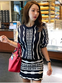 Retro Stylish Round Neck Stripes Knitting Dress Set