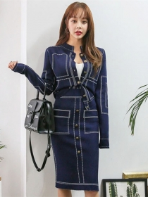 Fashion Lady 2 Colors Single-breasted Slim Knitting Dress Set