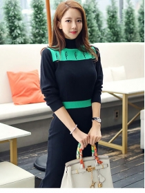 Modern Lady 2 Colors Fitted Waist Knitting Long Dress