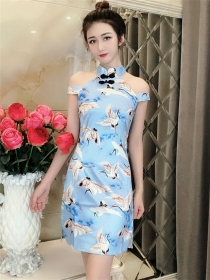 Retro Sexy 2 Colors Off Shoulder Crane Printings Slim Dress