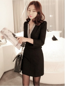 Wholesale Korea Beads V-neck Skinny Long Sleeve Dress