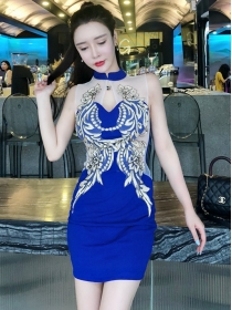 Sexy Fashion 2 Colors Flowers Patches Gauze Tank Dress