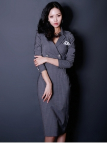 Elegant OL 2 Colors Double-breasted Stripes Bodycon Dress